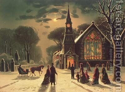 Christmas Eve by J. Latham - Reproduction Oil Painting