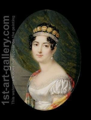 Portrait Miniature of the Empress Josephine by Andre Leon (Mansion) Larue - Reproduction Oil Painting