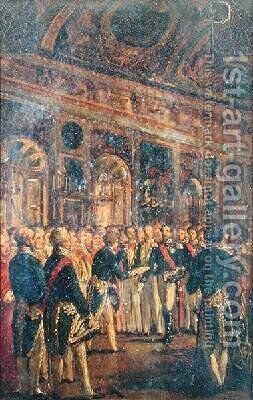 The Senate Presenting Louis Napoleon Bonaparte 1808-73 with the Result of the Plebiscite Proclaiming him Emperor by Charles-Philippe Lariviere - Reproduction Oil Painting