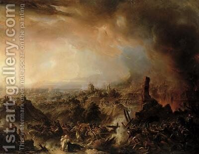 The Burning of Moscow in 1812 by Jean-Charles Langlois - Reproduction Oil Painting