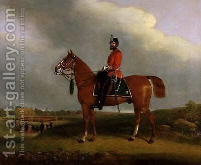 An Officer of the Bedford Light Infantry Militia mounted on a charger by C.P. Langley - Reproduction Oil Painting