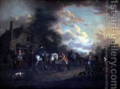 French Cavalry officers halted at the White Hart by Jan Anthonie Langendyk - Reproduction Oil Painting