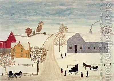 Amish Village by H.F. Lang - Reproduction Oil Painting