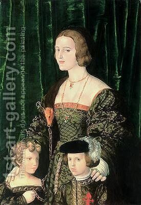Joanna the Mad of Castille 1479-1555 the Young Charles V 1500-58 and his sister by (attr.) Landshut, Nicolaus Alexander Mair von - Reproduction Oil Painting