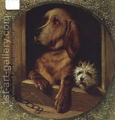 A Shared Kennel by (after) Landseer, Sir Edwin - Reproduction Oil Painting