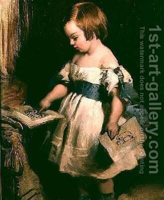 Child with a drawing by Sir Edwin Henry Landseer - Reproduction Oil Painting