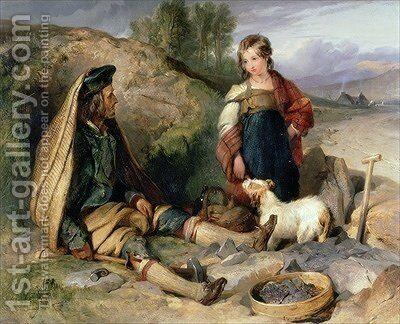 The Stone Breaker and his Daughter by Sir Edwin Henry Landseer - Reproduction Oil Painting