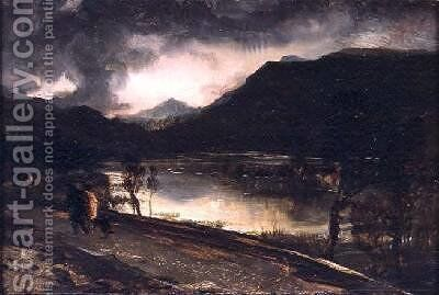 A Lake Scene at Sunset by Sir Edwin Henry Landseer - Reproduction Oil Painting