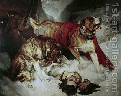 Alpine Mastiffs Reanimating a Distressed Traveller by Sir Edwin Henry Landseer - Reproduction Oil Painting
