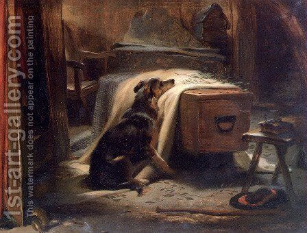 The Old Shepherds Chief Mourner by Sir Edwin Henry Landseer - Reproduction Oil Painting