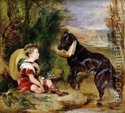 Hours of Innocence Lord Alexander Russell son of the 6th Duke of Bedford with his dog by Sir Edwin Henry Landseer - Reproduction Oil Painting