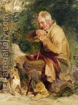 An old man and his dog seated by a road side by Sir Edwin Henry Landseer - Reproduction Oil Painting