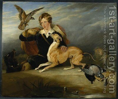 Richard Cavendish with Spot by Sir Edwin Henry Landseer - Reproduction Oil Painting