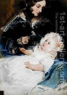 The Duchess of Abercorn and her Daughter by Sir Edwin Henry Landseer - Reproduction Oil Painting