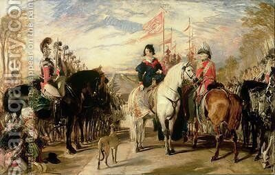 Queen Victoria and the Duke of Wellington reviewing the Life Guards Windsor Great Park in the distance by Sir Edwin Henry Landseer - Reproduction Oil Painting