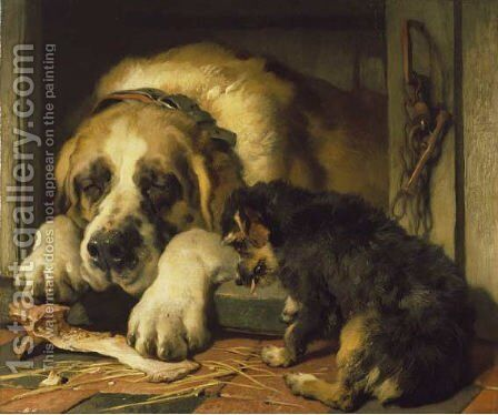 Doubtful Crumbs by Sir Edwin Henry Landseer - Reproduction Oil Painting