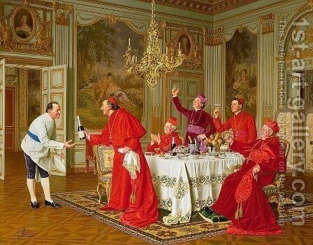 Louis XIVs Apartments at Versailles the Chefs Birthday by Andrea Landini - Reproduction Oil Painting