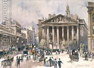 View of the Royal Exchange City of London by C. J. Lander - Reproduction Oil Painting