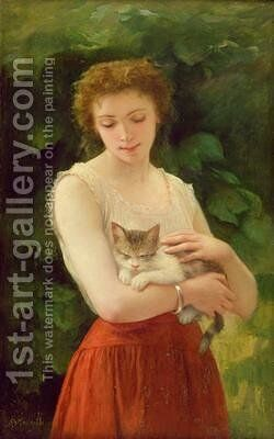 Country Girl and her Kitten by Charles Landelle - Reproduction Oil Painting