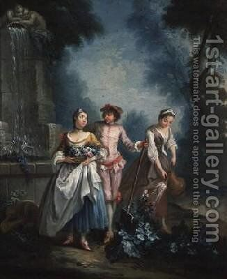 An Allegory of Summer Gardeners watering a flower bed by (after) Lancret, Nicolas - Reproduction Oil Painting