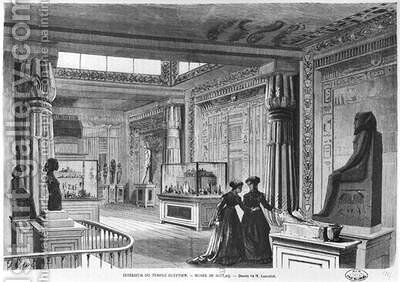 Interior of the Egyptian Temple at the Universal Exhibition at the Champ de Mars in Paris by Dieudonne Auguste Lancelot - Reproduction Oil Painting