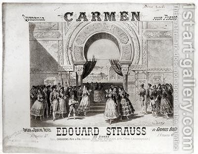 Cover of the score of piano quadrille from Carmen by Edouard Strauss 1835-1916 by A. Lamy - Reproduction Oil Painting