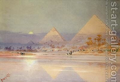 The Pyramids at dusk by Augustus Osborne Lamplough - Reproduction Oil Painting
