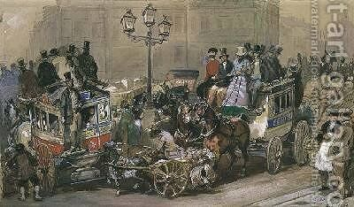 Ludgate Circus by Eugene Louis Lami - Reproduction Oil Painting