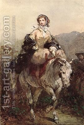 Young Woman on a Horse by Eugene Louis Lami - Reproduction Oil Painting