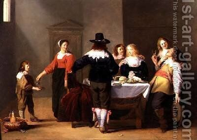 A Merry Company in an Interior by Christoffel Jacobsz van der Lamen - Reproduction Oil Painting