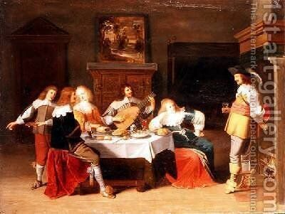 Elegant Company in an Interior by Christoffel Jacobsz van der Lamen - Reproduction Oil Painting