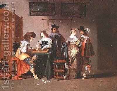 Backgammon Players by Christoffel Jacobsz van der Lamen - Reproduction Oil Painting