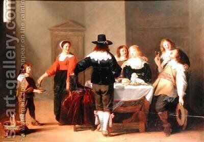 A Guardroom Interior with Soldiers Eating and Drinking in Female Company by Christoffel Jacobsz van der Lamen - Reproduction Oil Painting