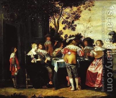 The Game by Christoffel Jacobsz van der Lamen - Reproduction Oil Painting
