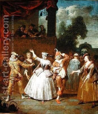 Actors from the Commedia dellArte by Jan Baptist Lambrechts - Reproduction Oil Painting