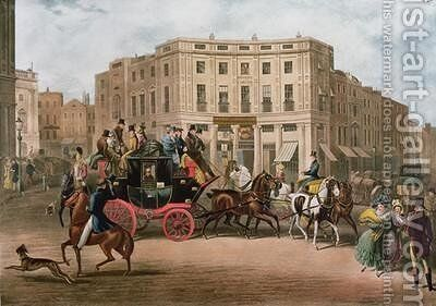 The Age Brighton Coach at the Bull and Mouth Regent Circus Piccadilly by E. F. Lambert - Reproduction Oil Painting