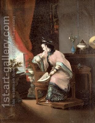 A Chinese girl seated looking out of the window by (attr. to) Lam Qua - Reproduction Oil Painting