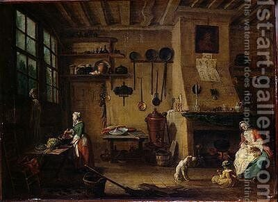 The Bourgeois Kitchen by Jean-Baptiste Lallemand - Reproduction Oil Painting