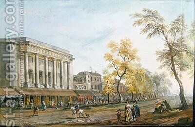 The Theatre des Italians by Jean-Baptiste Lallemand - Reproduction Oil Painting