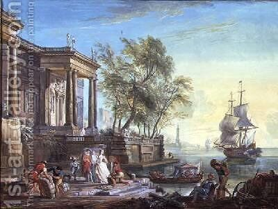 Port Scene with Setting Sun by Jean-Baptiste Lallemand - Reproduction Oil Painting