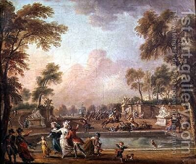 The Charge of the Prince of Lambesc 1751-1825 in the Tuileries Gardens by Jean-Baptiste Lallemand - Reproduction Oil Painting