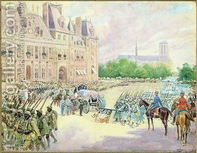 Funeral of General Joseph Gallieni 1849-1916 by Alphonse Lalauze - Reproduction Oil Painting