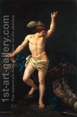 David Victorious by Jean Jacques II Lagrenee - Reproduction Oil Painting