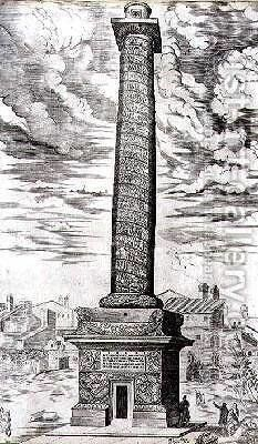 Trajans Column in Rome celebrating the Emperors campaigns in Dacia by Antonio Lafreri - Reproduction Oil Painting