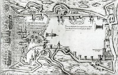 Map illustrating La Rochelle occupied by the Huguenots by Antonio Lafreri - Reproduction Oil Painting
