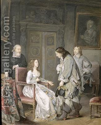 Queen Kristina of Sweden 1626-89 and Karl X Gustav of Sweden 1622-60 by Niclas II Lafrensen - Reproduction Oil Painting