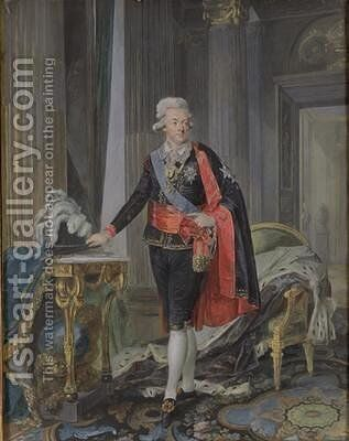 King Gustav III of Sweden 1746-92 by Niclas II Lafrensen - Reproduction Oil Painting