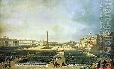 The Consecration of the Alexander Column in St. Petersburg by Adolphe Ladurner - Reproduction Oil Painting