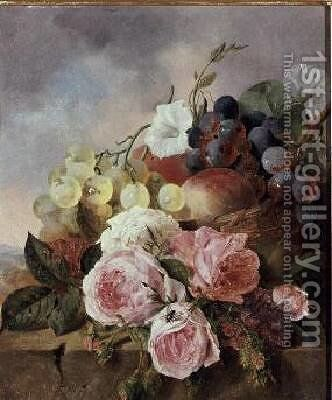 Still life of fruit and roses on a ledge by Edward Ladell - Reproduction Oil Painting