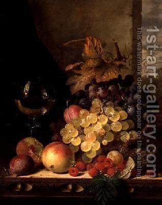 A Still Life with Grapes Raspberries and a Glass of Wine by Edward Ladell - Reproduction Oil Painting